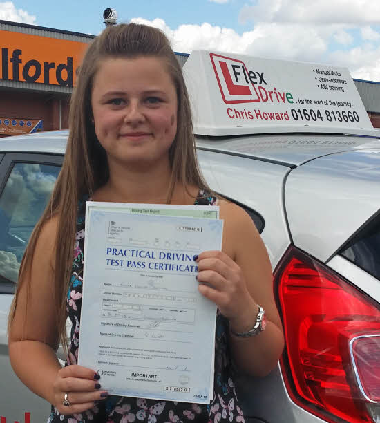 driving lessons wellingborough. emma darnell passes 1st time having taken driving lesson with flexdrive driving school