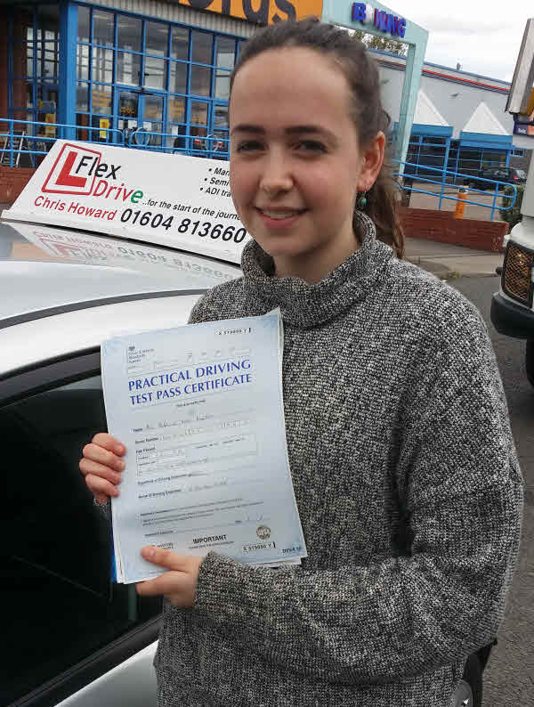 Driving Lessons Earls Barton | Maddy passed 1st time with Flexdrive Driving School