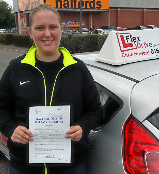 driving lessons wellingborough, nicole bird passes first time having taken driving lessons with flexdrive driving school