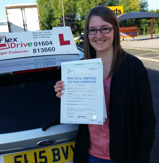 Driving lessons in wellingborough | Hayley Greaves passes 1st time with Flexdrive Driving School