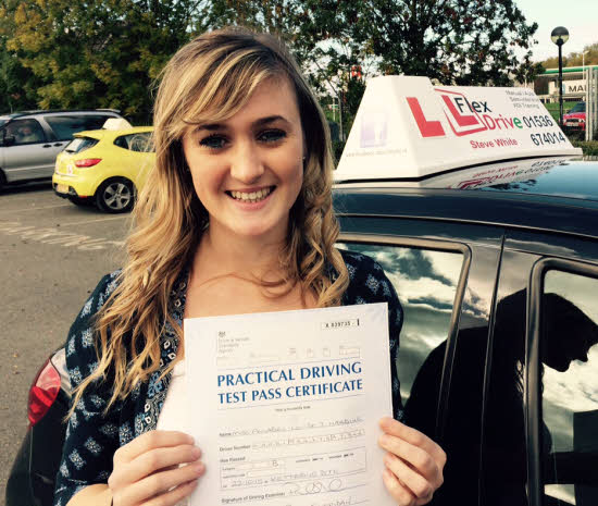 Driving Lessons in Kettering   Anabel passed first time, 1 driving fault with Flexdrive Driving School