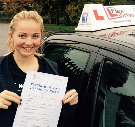 Driving Lessons in Kettering   Elinor pawluk Passes having taken driving Lessons with Flexdrive Driving School