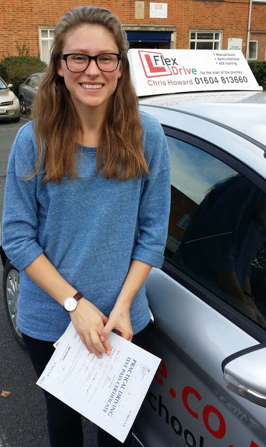 Driving Lessons Northampton   Meg passes first time with Flexdrive Driving School