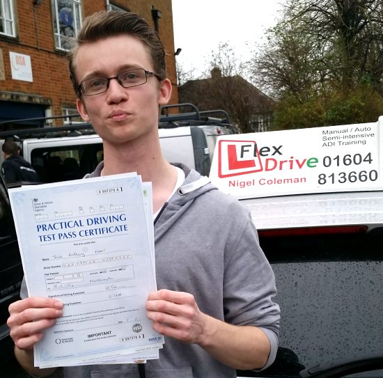 Driving lessons Northampton | Jack passes 1st time having taken driving lessons with Flexdrive Driving School