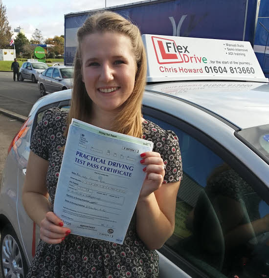Driving Lessons in Northampton | Katy passed first time with flexdrive