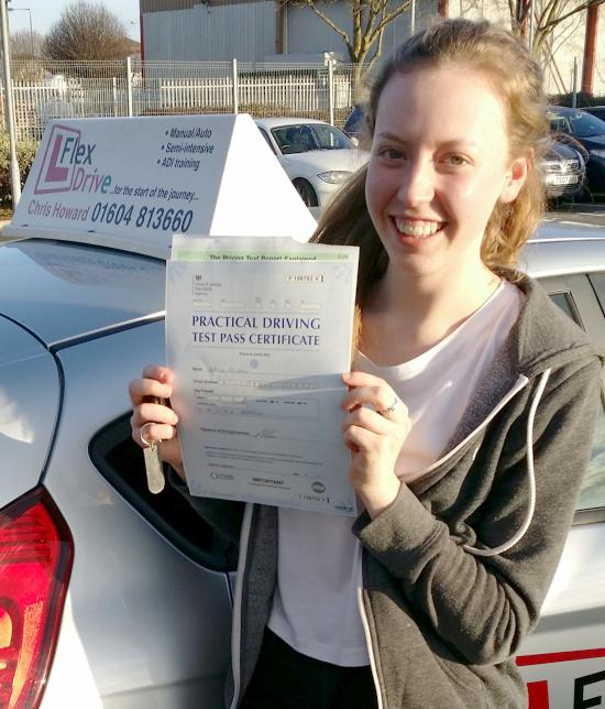 Driving Lessons in Kettering | sophie passd 1st time with only 3 DFs having taken lessons with Flexdrive Driving School