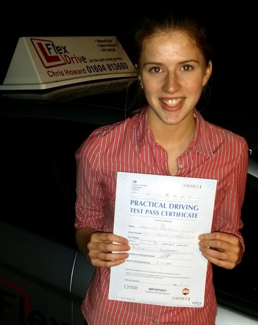 driving lessons in Northampton | maddy passed first time having had lesson with flexdrive driving school