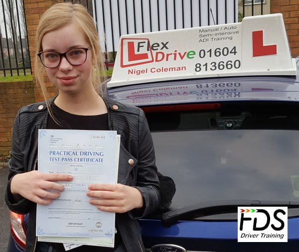 Driving Lessons in Northampton | Emily Dorey passed 1st time with Flexdrive Driving School