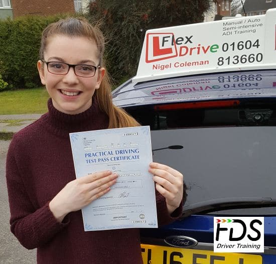 Driving Lessons in Northampton | Rosie passed 1st time with Flexdrive Driving School