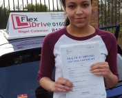 Driving Lessons in Northampton | Lydia passed 1st time with Flexdrive Driving School