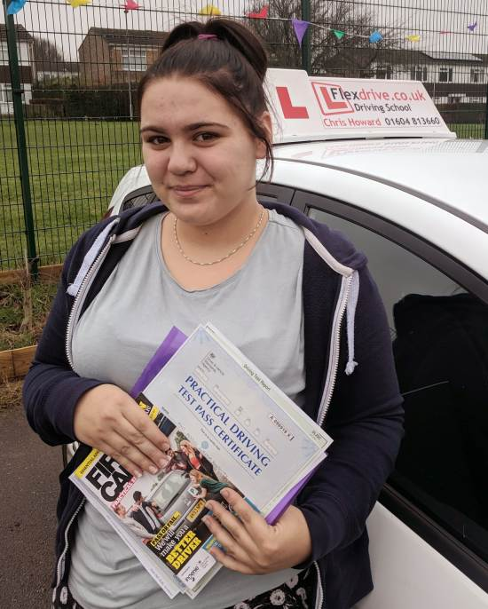 Driving Lessons in Wellingborough | Keelie passed 1st time with Flexdrive Driving School