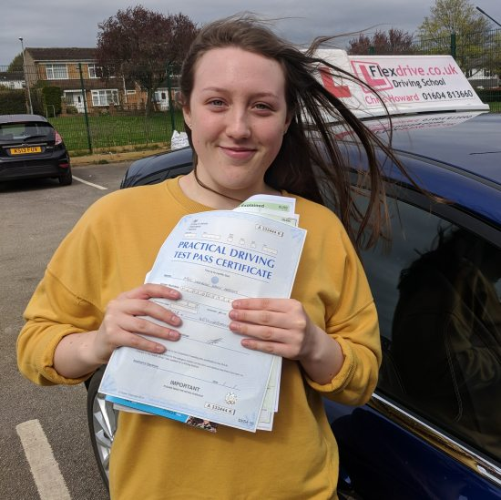 Driving Lessons in Wellingborough | Hannah passed 1st time with Flexdrive Driving School