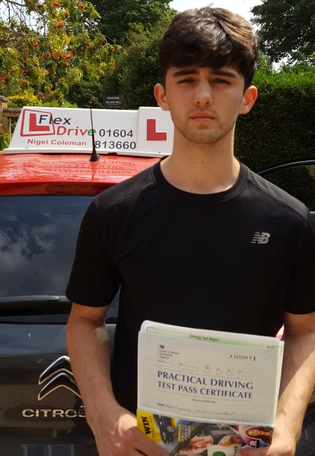 Driving Lessons Northampton   Alex passed 1st time with Flexdrive Driving School