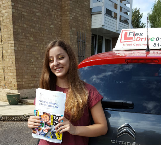 Driving Lessons in Kettering   Mariella passed with Flexdrive Driving School