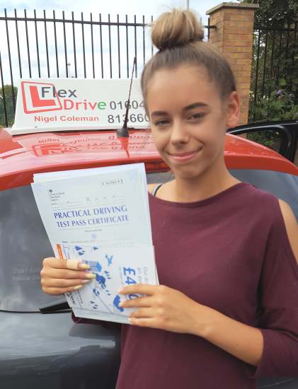 Driving Lessons Northampton   Taylor passed with Flexdrive Driving School