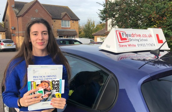 Driving Lessons Kettering | Aiyana passed 1st time with Flexdrive Driving School