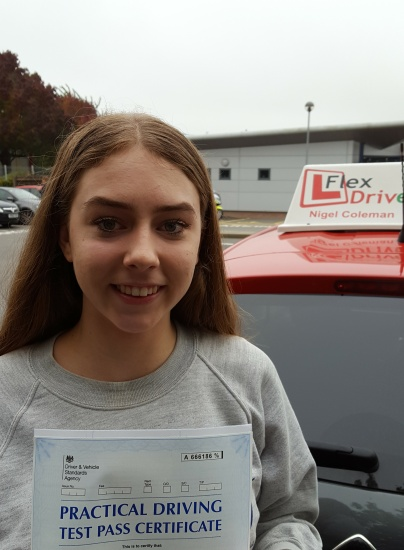 Driving Lessons in Kettering | Charlotte passed with Flexdrive Driving School