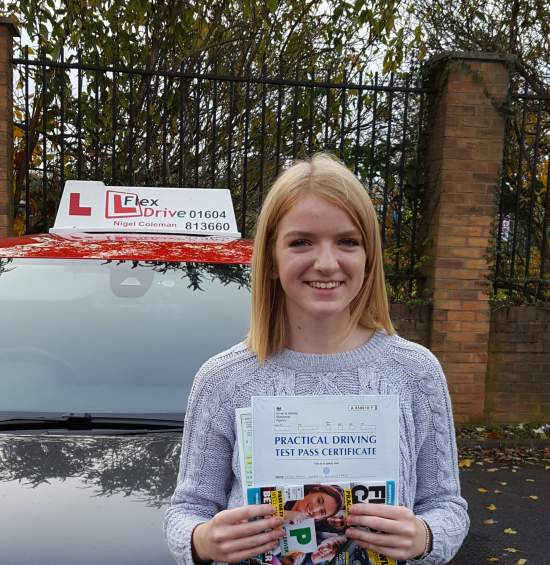 Driving Lessons in Northampton | Amy passed 1st time with Flexdrive Driving Lessons