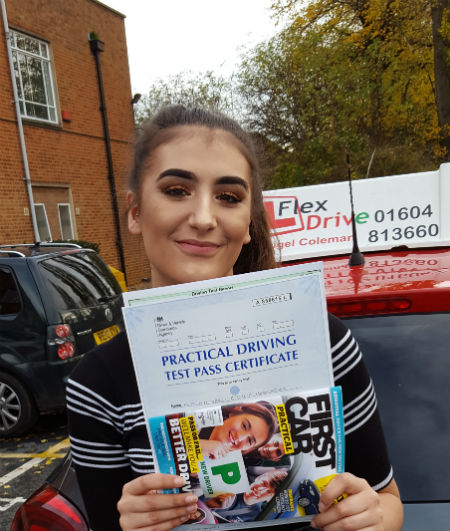 Driving Lessons in Northampton | Mia passed 1st time with Flexdrive Driving School