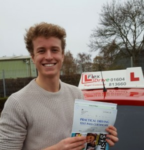 Driving Lessons in Kettering | Sean Passed with Flexdrive Driving School