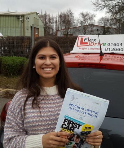 Driving Lessons in Kettering | Eva passed 1st time with Flexdrive Driving School