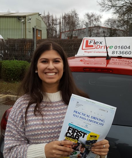 Driving Lessons in Kettering   Eva passed 1st time with Flexdrive Driving School