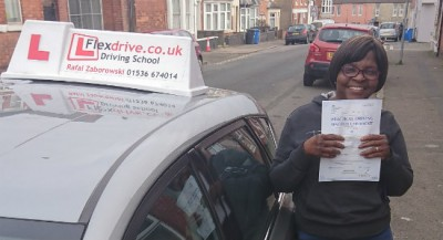 Automatic Driving lessons Kettering | Justina passed her driving test with Flexdrive driving School