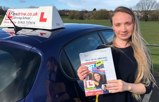 Driving Lessons in Wellingborough   Olesea passed with Flexdrive Driving School