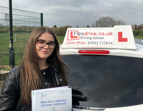 Driving Lessons in Wellingborough | Jessie passes 1st time with Flexdrive Driving School
