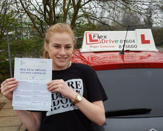 Driving Lessons in Kettering and Wellingborough | Kaci passed with Flexdrive Driving School