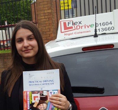 Driving Lessons in Northampton   Delia passed 1st time with Flexdrive Driving School