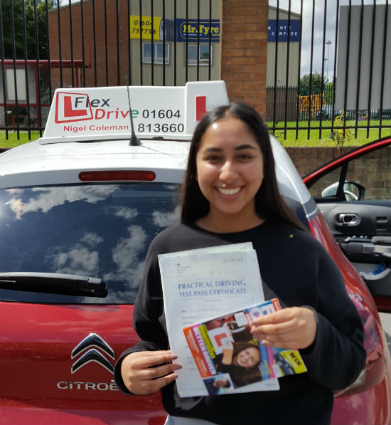 Driving Lessons in Northampton | Zahrah passed with Flexdrive Driving School