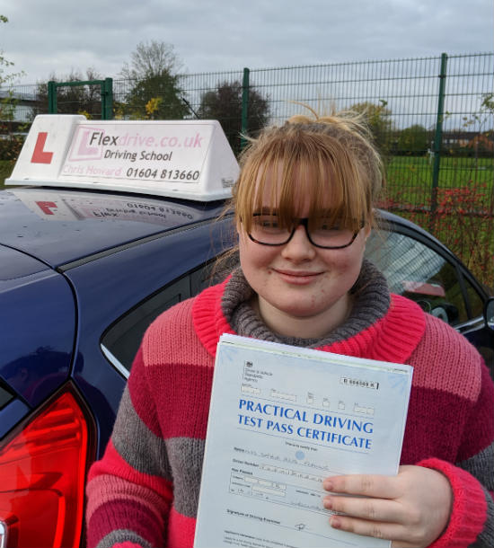 Driving Lessons in Wellingborough | Sophia passed with Flexdrive Driving School