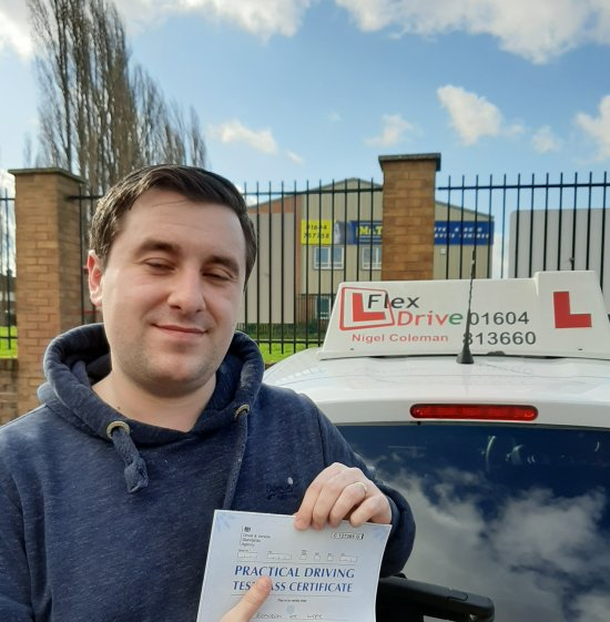 Driving Lessons in Northampton   Brandon passed 1st time with Flexdrive Driving School