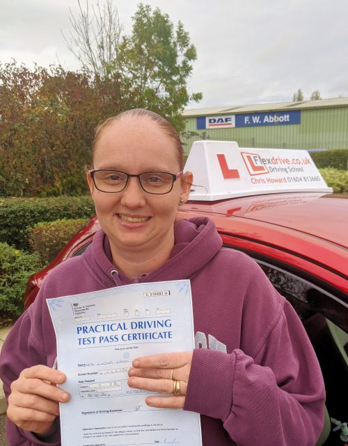 Automatic Driving Lessons in Kettering | Linda passed 1st time with Flexdrive Driving School