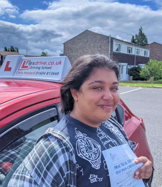 Driving Lessons in Wellingborough | Jordan passed with Flexdrive Driving School